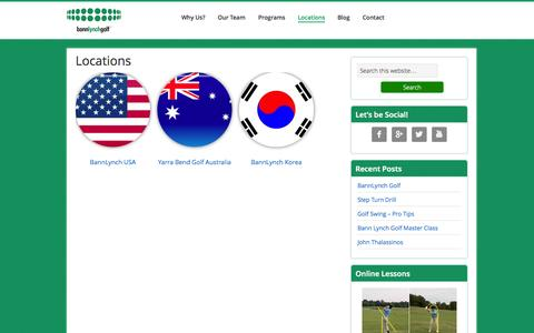Screenshot of Locations Page bannlynchgolf.com - Locations – BannLynch Golf - captured Sept. 30, 2014