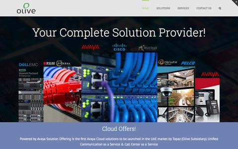 Screenshot of Home Page olive.ae - Olive.ae – Unified Communication Cloud in Dubai - captured Oct. 25, 2017