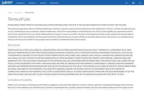 Screenshot of Terms Page lubrizol.com - Terms of Use - Lubrizol - captured Dec. 5, 2016