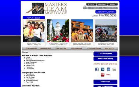 Screenshot of Site Map Page mastersteammortgage.com - Masters Team Mortgage - Site Map - captured Oct. 6, 2014