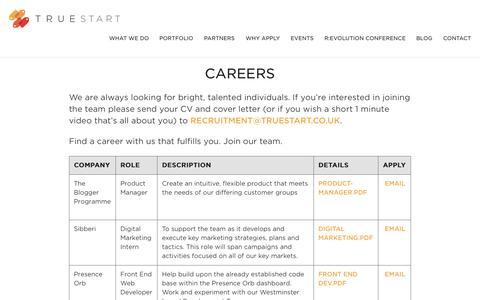 Screenshot of Jobs Page truestart.co.uk - Careers » TrueStart - captured Aug. 17, 2015