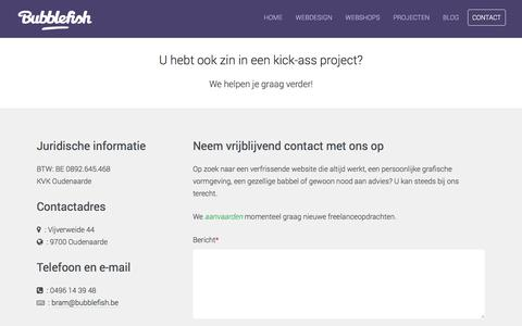 Screenshot of Contact Page bubblefish.be - Contact - bubblefish.be webdesign Oudenaarde - captured Oct. 5, 2014