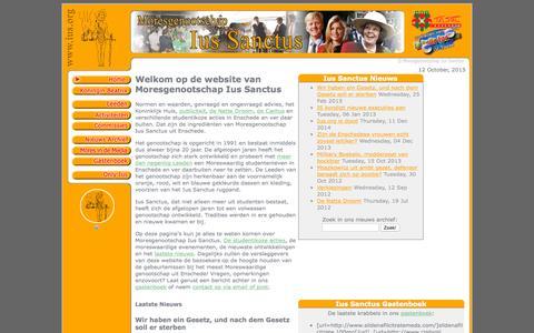 Screenshot of Home Page ius.org - Moresgenootschap Ius Sanctus - Homepage - captured Oct. 12, 2015