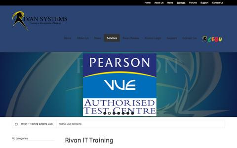 Screenshot of Services Page rivanit.com - Rivan IT Training | Rivan IT Training Systems Corp. - captured Oct. 7, 2014