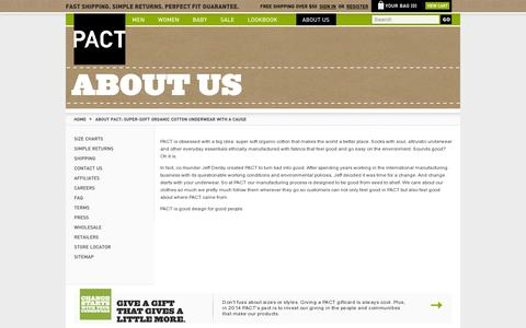 Screenshot of About Page wearpact.com - About PACT: Super-Soft Organic Cotton Underwear With A Cause - captured July 19, 2014