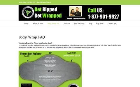 Screenshot of FAQ Page naturalwrap.ca - It Works Body Wraps Canada FAQ | Natural Wrap - It Works Body Wraps - captured Oct. 7, 2014