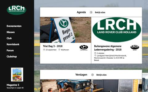 Screenshot of Home Page lrch.nl - Land Rover Club Holland - captured Sept. 23, 2018