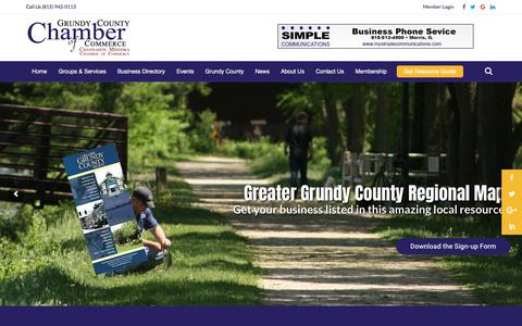 Screenshot of Home Page grundychamber.com - Grundy County Chamber of Commerce   Morris, Illinois - captured Sept. 22, 2017