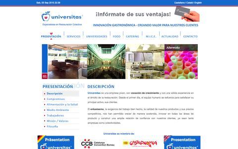 Screenshot of Home Page universitas.cat - Universitas Colectividades - Especialistas en Restauración - captured Sept. 5, 2015