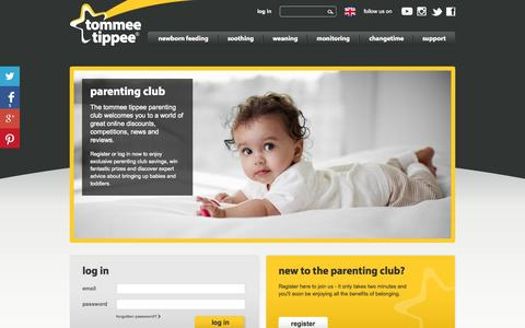 Screenshot of Login Page tommeetippee.co.uk - Parenting Club | tommee tippee - captured Oct. 31, 2014