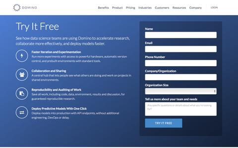 Screenshot of Trial Page dominodatalab.com - Try It Free - Domino Data Lab - captured Jan. 24, 2016