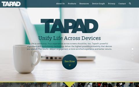 Screenshot of Home Page tapad.com - Tapad - captured July 17, 2014