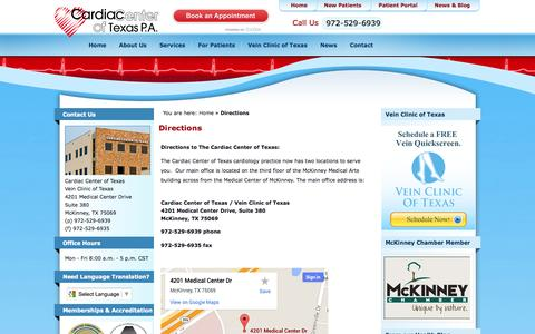 Screenshot of Maps & Directions Page cardiaccenteroftexas.com - Directions to Our Cardiology Office | McKinney, Allen, Frisco, Plano - captured Oct. 22, 2014