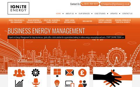 Screenshot of Home Page igniteenergy.co.uk - Ignite Energy -Business Energy Consultants - captured Oct. 1, 2018