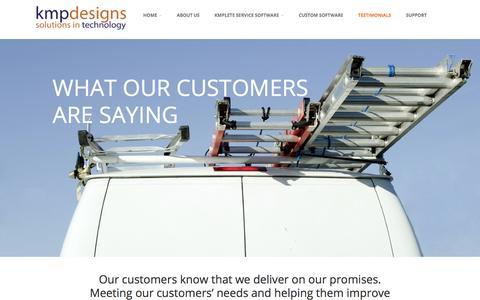 Screenshot of Testimonials Page kmpdesigns.com - Testimonials | KMP Designs Inc. - Solutions in Technology - captured Oct. 16, 2017