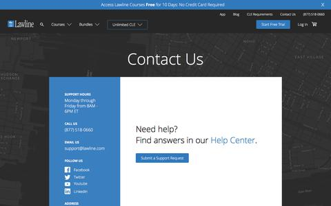 Screenshot of Contact Page lawline.com - Contact Us | Lawline - captured Sept. 22, 2018