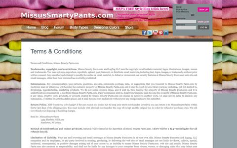 Screenshot of Terms Page missussmartypants.com - Terms & Conditions - captured Jan. 23, 2016