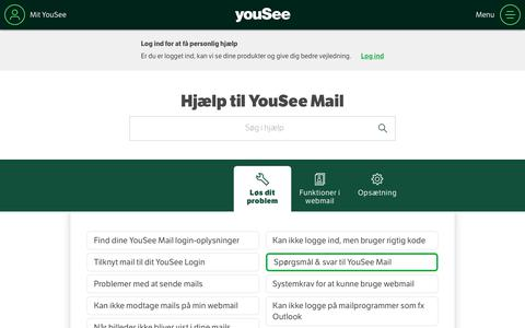 Screenshot of FAQ Page yousee.dk - Har du problemer med din YouSee Webmail? - captured Jan. 12, 2019