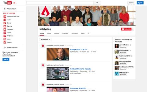 Screenshot of YouTube Page youtube.com - katalystng  - YouTube - captured Nov. 3, 2014