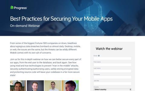 Screenshot of Landing Page progress.com - Best Practices for Securing Your Mobile Apps - captured July 17, 2019