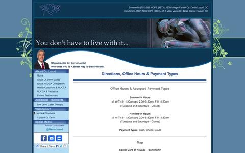Screenshot of Maps & Directions Page drdevin.com - Directions, Office Hours & Payment Types   Spinal Care of Nevada - captured Oct. 23, 2017