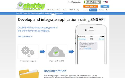 Screenshot of Developers Page skebby.com - SMS API - easy integration of SMS gateway software with web server or applications for internet text messaging - captured Nov. 4, 2014