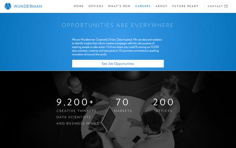 Screenshot of Jobs Page wunderman.com - Careers & Employment | Wunderman - captured March 3, 2018