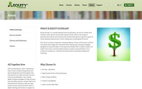 Screenshot of About Page equityscholar.com - About - captured Oct. 2, 2014