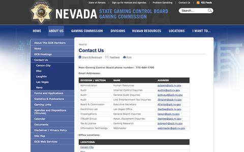 Screenshot of Contact Page Locations Page nv.gov - Nevada Gaming Control Board : Contact Us - captured Oct. 26, 2014