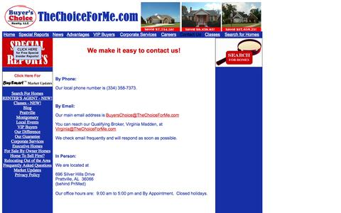Screenshot of Contact Page thechoiceforme.com - Contact Us | Buyer's Choice Realty - captured Oct. 5, 2014