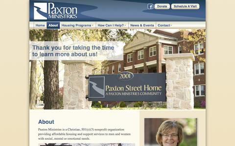 Screenshot of About Page paxtonmin.org - About | Paxton Ministries - captured Oct. 2, 2014