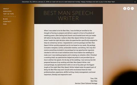 Screenshot of Testimonials Page bestmanspeechwriter.com - Testimonials | Best Man Speech Writer - captured Jan. 1, 2016