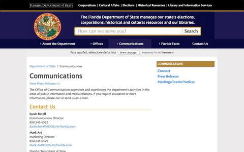 Screenshot of Press Page myflorida.com - Communications - Florida Department of State - captured June 20, 2017