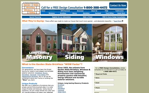 Screenshot of Products Page brickface.com - NJ & NY Home Improvements, Remodeling, Brickface, Stucco, Masonry, Vinyl Siding, Replacement Windows   Garden State - captured Oct. 2, 2014