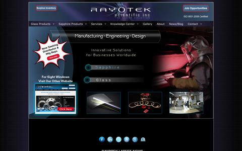 Screenshot of Home Page rayotek.com - Sapphire Glass Products Manufacturer: Sapphire Products: Architectural & Molded Glass | Rayotek Scientific Inc. - captured Oct. 18, 2018