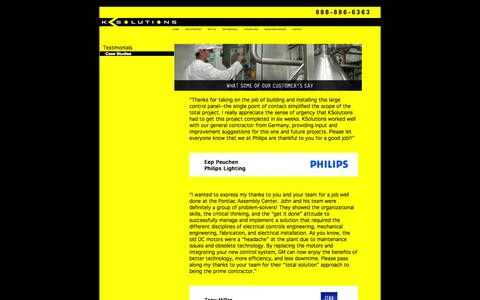 Screenshot of Testimonials Page ksolutionscorp.com - KSolutions--Control System Design, Project Management and Manufacturing Consulting - captured Oct. 6, 2014