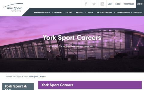Screenshot of Jobs Page york-sport.com - York Sport   Career Information And Current Vacancies - captured Oct. 29, 2018
