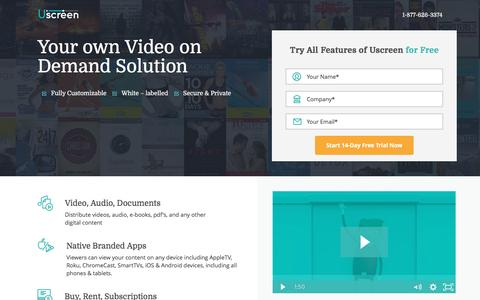 Screenshot of Landing Page uscreen.tv - Video on Demand Platform - Make Video Website | Uscreen - captured Dec. 22, 2016