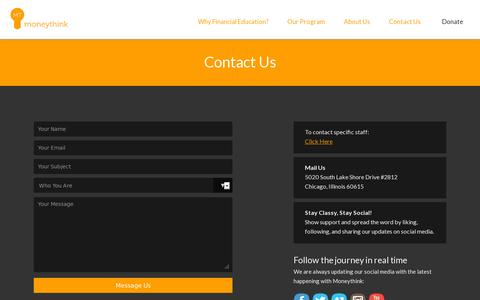 Screenshot of Contact Page moneythink.org - Contact Us | Moneythink : Moneythink - captured July 20, 2014
