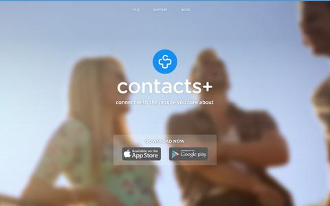 Screenshot of Home Page contactspls.com - Contacts+ - a beautiful Address book for Android and iPhone - captured Jan. 26, 2015
