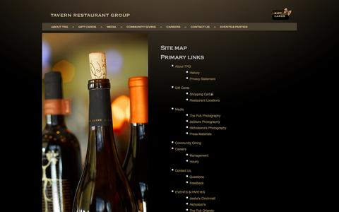 Screenshot of Site Map Page tavernrestaurantgroup.com - Site map | Tavern Restaurant Group - captured Oct. 7, 2014