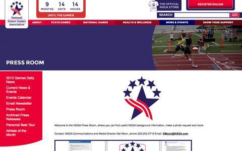 Screenshot of Press Page nsga.com - National Senior Games Association - Press Room - captured Sept. 19, 2014