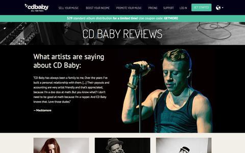 Screenshot of Testimonials Page cdbaby.com - CD Baby Testimonials and Reviews - captured June 25, 2017