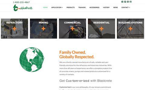 Screenshot of Home Page blastcrete.com - Home   Blastcrete Equipment Company - captured May 14, 2018