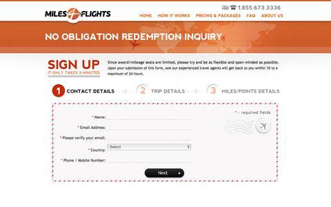 Screenshot of Signup Page miles4flights.com - Redeem Airline Miles into Award Seats | Miles 4 Flights - captured Jan. 10, 2016