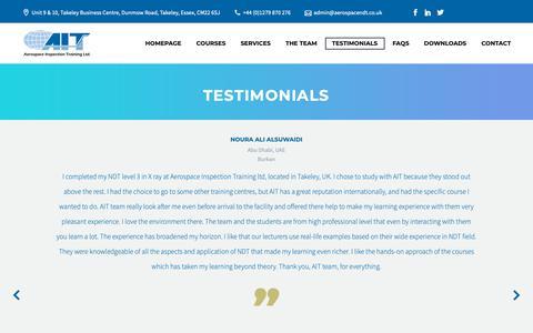 Screenshot of Testimonials Page aerospacendt.co.uk - Testimonials – Aerospace Inspection Training Limited - captured Oct. 3, 2018