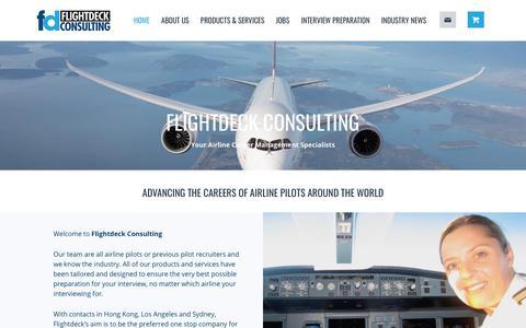 Screenshot of Home Page flightdeckconsulting.com - Flightdeck Consulting | Airline Interviews | Pilot Recruitment - captured Oct. 10, 2018