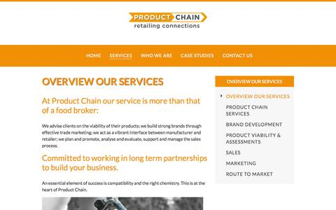 Screenshot of Services Page productchain.com - Overview Our Services |  Product Chain - captured Oct. 3, 2014