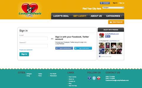 Screenshot of Login Page luckypetdeals.com - LuckyPetDeals | Sign In - captured Nov. 2, 2014