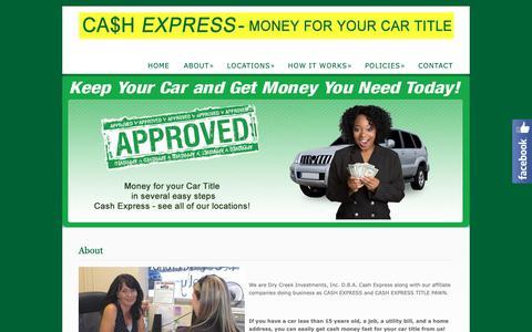 Screenshot of About Page cashexpressga.com - About  @  Cash Express - captured Sept. 27, 2018